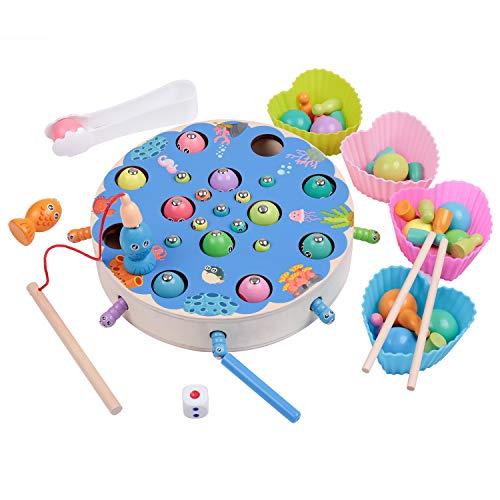 Lamlingo Magnetisches Spielzeug für Kleinkinder,Holzspielzeug Angelspiel,Montessori Flugschachspiel Vorschule Lernen Lernspielzeug, Geburtstagsgeschenk für Kleinkinder ab 3 Jahren