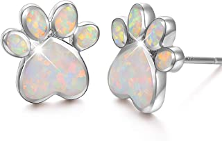 S925 Sterling Silver Jewelry Puppy Dog Cat Pet Paw Print Stud Earrings