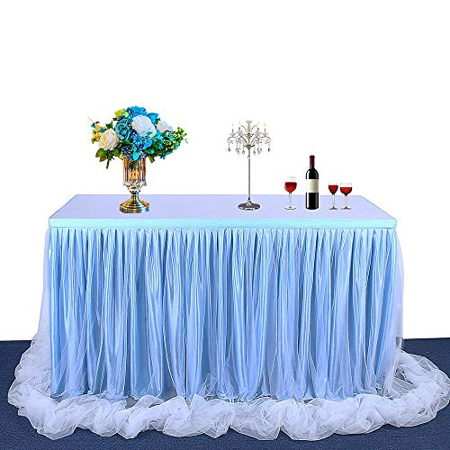 BEST OF BEST Traum Prinzessin Stil Tüll Tischrock Tischdecke Flauschige Mesh für Rechteck oder Runde Tische Geburtstag Hochzeit Party Picknick Dekoration (9ft, Blue)