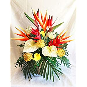 31″ Spray Red Bird of Paradise Silk Artificial Flower