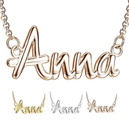 XiXi Collar Nombre Personalizado Plata 925 Oro Rosa Colgante Collares para Hombre Mujer Regalo para Cumpleaño Aniversario (Oro Rosa, Plata)