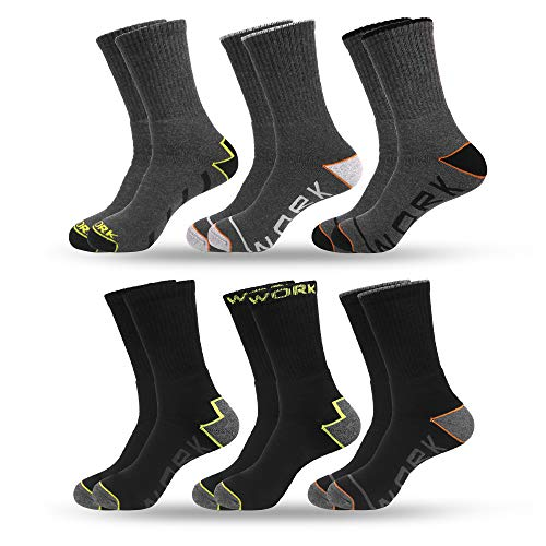 QiRung 6 Pairs Men's Working Socks, Accident Prevention, Moisture Wicking Breathable Cotton, Full Terry Cushion, Reinforced Toe and Heel-UK Size 6-12