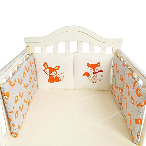 Tour de lit coussins modulable avec parures 6 pièces pare-choc literie enfant 30*30cm (30*30cm, Renard)