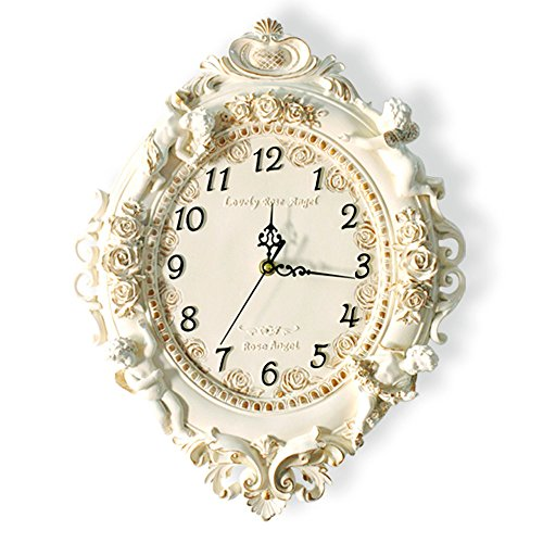 KKLOCK Wanduhr Uhr Wanduhren Lautlos für Wohnzimmer Büro Schlafzimmer Badezimmer Küche Kinderzimmer Mini Einfache Großes Retro Nostalgie Vintage Fassung Klassischen Weiß Elliptische Uhren
