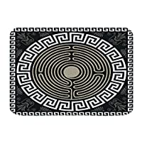 NIESIKKLA バスマット、伝統的なヴィンテージの白いギリシャの装飾と波、マット滑り止め ソフトタッチ 丸洗い 洗濯 台所 脱衣場 キッチン 玄関やわらかマット 45x 75cm