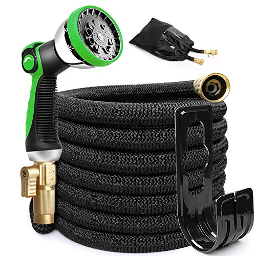 EOOIO 25FT Garden Hose, Flexible Water Hose with 100% Solid Brass Valve 9 Function Hose Nozzle, Outdoor Hose Lightweight Gardening Yard Hoses