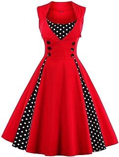VogueBella ポルカドットのスプライシングのスイングのカクテルパーティーのドレスの女性のロカビリービンテージピン[並行輸入品]