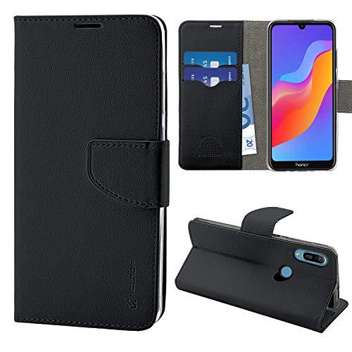NewTop N Cover Compatibile per Huawei Honor 8A/Y6S 2019, HQ Lateral Custodia Libro Flip Magnetica Portafoglio Simil Pelle Stand (Nero)