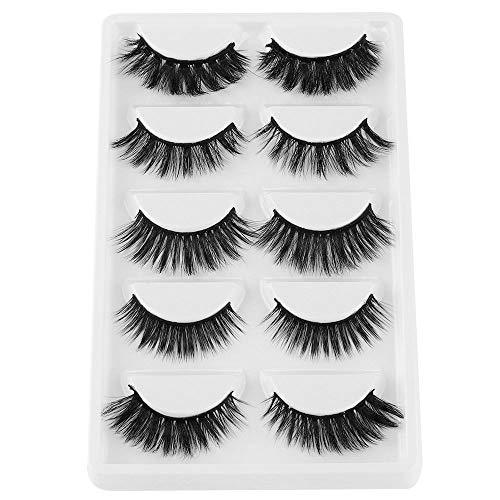 5 Paires de Faux Cils naturel 3D noir longs et entrecroisés Multipack Faux Cils Faits à La Main Pure Réutilisable Extension pour Maquillage regard envoûtant Application facile # 04