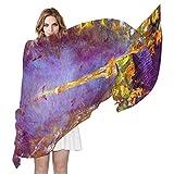 QMIN - Bufanda de seda, diseño de la torre Eiffel, larga, ligera, para mujer, chal