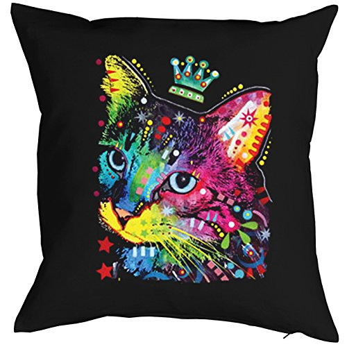 Cat Crowned Cat Chats Gatti Gatos Coussin, Pop Art Style
