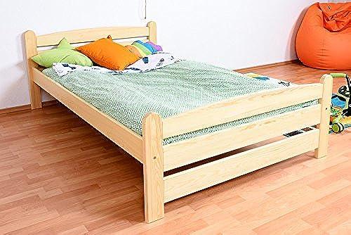 Kinderbett   Jugendbett Kiefer massiv Vollholz natur 84, inkl. Lattenrost - Abmessung 120 x 200 cm