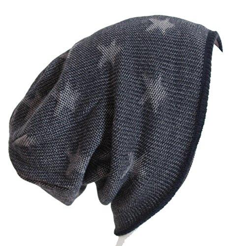 BRUBAKER Bonnet réversible Motif étoiles ou uni - Marron - Taille Unique