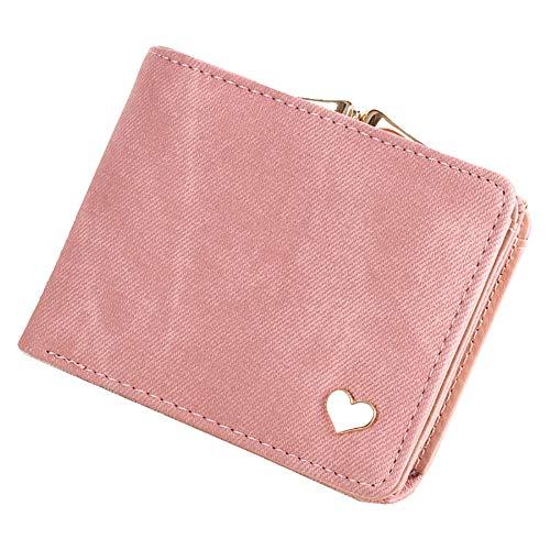 Gysad Geldbörse Kleine Herz Geldbörse Damen Portemonnaie Kleine Geldbeutel für Münzen,Kleingeld,Schlüssel und kleine Sache Damen Mädchen Geschenk(Pink) 9.5cm*11.5cm*2.5cm