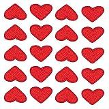 Nifocc Mini Herz Bestickte Patches gestickte Aufnäher für Kleidung Jeans Jacken Hüte Rucksäcke Schuhe - Rote 20 Stück