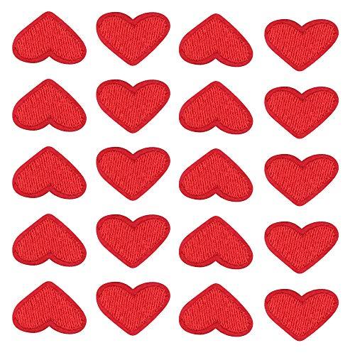 Nifocc - Toppe ricamate a forma di cuore piccolo a forma di cuore, per vestiti, jeans, giacche, cappelli, borse, zaini, scarpe, decorazioni, colore rosso, 20 pezzi
