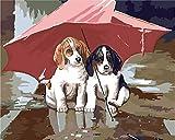 DIY Pintura por Números cachorro Adultos Niños Principiantes Fácil pintando sobre Lienzo con Pinturas y Pinceles hogar decoración de casa (sin marco) 40 x 50 cm