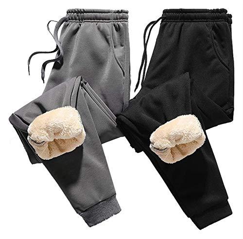 2 Piezas De Pantalones Deportivos Para Hombres Pantalones De Lana Cálidos Con Forro Lana Grueso En Pantalones Invierno Pantalones De Lana Térmica Invierno, Pantalones De Chándal Cálidos ( Size : L )
