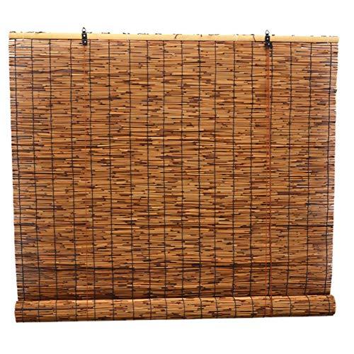 Cortina de bambú de persiana enrollable de caña natural, cortina de partición de persiana de ventana, parasol para decoración de muebles de interior al aire libre, con elevador, a prueba de polvo/t