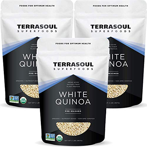 Terrasoul Superfoods Organic White Quinoa, 6 Lbs - Pre-washed   Gluten-free   Plant Protein