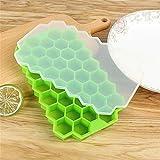 Cubo de hielo Sin BPA Honeycomb Cubito de hielo con tapa fiesta de helados for el whisky Cóctel Bebida fría 37 Cubos de hielo del silicón Bandeja Molde Cubo de servicio (Color : Light Green)
