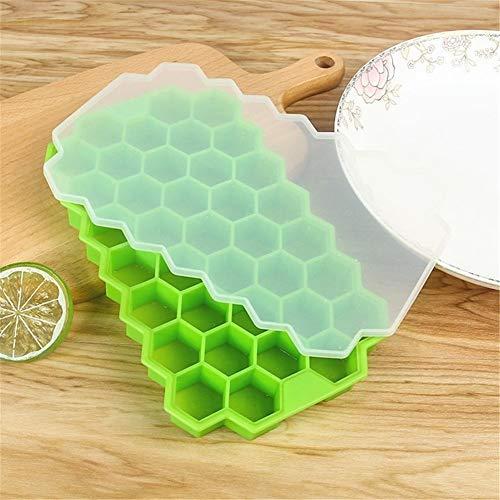 Cubo de hielo de vino de champán Sin BPA Honeycomb Cubito de hielo con tapa fiesta de helados for el whisky Cóctel Bebida fría 37 Cubos de hielo del silicón Bandeja Molde (Color : Light Green)