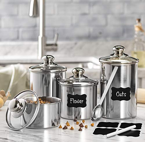 Le'raze FOOD STORAGE CONTAINERS for Kitchen Counter with MARKER, LABELS, & SCOOP. [Set of 4] Stainless Steel Pot-Like Canister Set, Ideal for Flour Tea, Sugar, Coffee, Candy, Cookie Jar