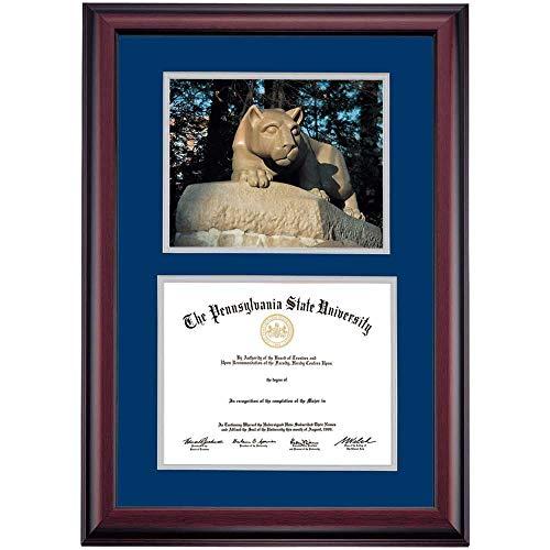 OCM DiplomaDisplay Premier Frame for Penn State PSU Nittany Lions | 8-1/2' x 11' Diploma Certificates | Navy/Gray Mat | Lion Shrine Photograph | Graduation Gift