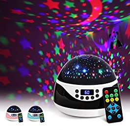 2019 Newest Baby Night Light, AnanBros Remote Control Star Projector with Timer Music Player, Rotating Star Night Light 9 Color Options
