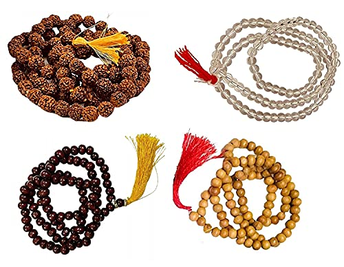 Japa Mala/Japa/Meditación/Canto/Puja Unisex Madera Combo de Sándalo, Rudraksha, Chandan Perfumado y Sphatik (Multi Color)