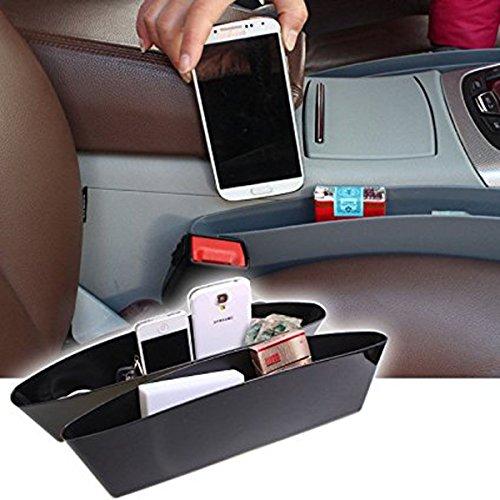 Black Car Seat Side Pocket Caddy Car Seat Slit Pocket Catcher Organizer - Pair