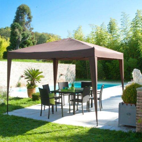 Gazebo Tenda da giardino Padiglione pieghevole 3x3 m color CIOCCOLATO - In ALLUMINIO trattato con vernice epossidica - Ottima qualità - Si monta e si smonta in pochi minuti!