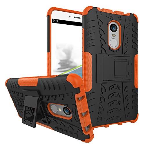 pinlu® Funda para Xiaomi Redmi Note 4 / Note 4X Smartphone Doble Capa Híbrida Armadura Silicona TPU + PC Armor Heavy Duty Case Duradero Protección Neumáticos Patrón Naranja