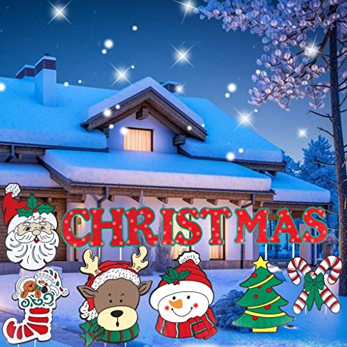 Xgood 9 Pack Christmas Yard Signs Christmas Winter Yard Signs Decorations Christmas Letter Santa Claus Outdoor Lawn Decors with Stakes for Holiday Decorations Signs