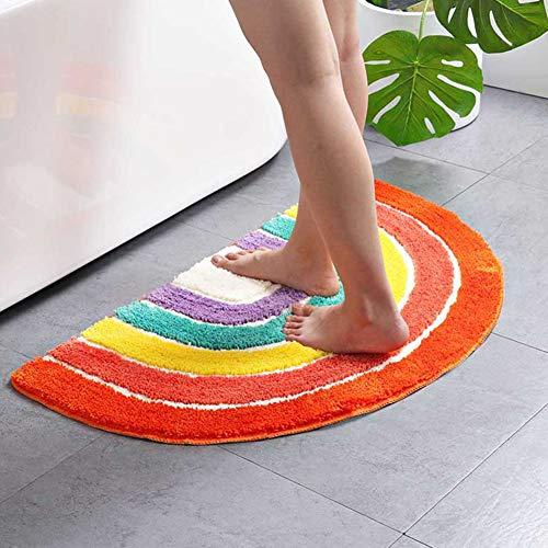 BESTEU Alfombra de suelo semicírculo con patrón de arcoíris de 50 a 80 cm, antideslizante, para sala de estar, dormitorio, comedor, cocina, felpudos, Rainbow Color, 50Ã-80cm