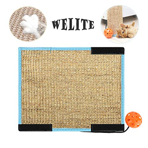 Welite Cat Scratching Pad Sisal Scratcher Post 2 in 1 Use Grinding Claws amp Protect Furniture Cover Carpet Sofa Mat Couch Chair with Velcro amp Interactive Tinkle Bell Ball Toy 124quot x 96quot Brown