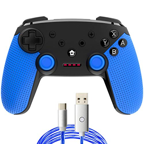 momen Wireless Controller for Nintendo Switch, Nintendo Switch Controller Built-in Gyro Axis Dual Vibration Turbo Pro Controller Switch Remote Controller Gamepad Black&Blue