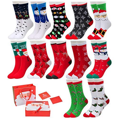 Vertvie 12 Paar Unisex Weihnachtssocken Christmas Socks Weihnachtsmotiv Weihnachten Festlicher Baumwolle Socken Mix Design für Damen & Herren