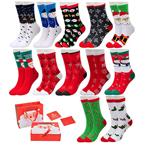 Christmas Socks for Women 12-Pack Holiday Cotton Knit Crew Xmas Socks Set Fun Colorful Novelty Socks