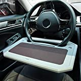 Car Tray for Eating Steering Wheel Tray Truck Steering Wheel Desk Steering Wheel Tables Multifunctional Car Desk for Laptop Food Portable Auto Car Table Tray Fits Most Round Car Steering Wheel Grey