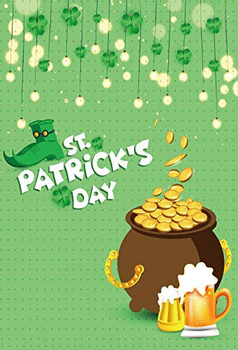 YongFoto 8x10ft Happy St. Patrick's Day Backdrop Pot of Gold Green Boots String Light Beer Glass Photography Background Ireland National Day Kids Adults Portrait YouTube Studio Video Shooting Props