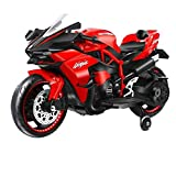 YUGUAN Electric Motorcycle for Kids, Power Bicyle Children Ride-on Toys 12V 7A Battery Powered Motorcycle with Flashing Wheels Adjustable Seat Belt LED Lights, Best Birthday Gift for Kids Teens (Red)