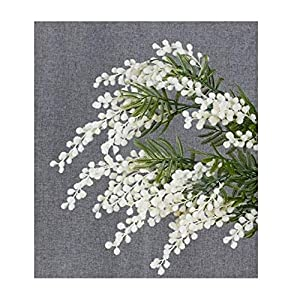 ShineBear 5 PCS Plush Australia Acacia Yellow Mimosa Pudica Spray Artificial Wedding Flower Party Event Decor – (Color: 5 Piece White, Size: 87cm)