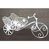 HOGAR Y MAS Bicicleta Macetero Blanco Metal, Decoración Jardín Exterior