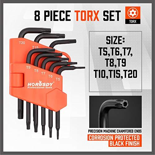 SEDY 8-Pieces Mini Torx L Key Tamperproof Allen Wrench, T5, T6, T7, T8, T9, T10, T15, T20, Cr-V