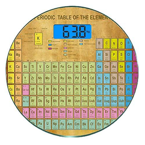 Escala digital de peso corporal de precisión Ronda Tabla periódica Báscula de baño de vidrio templado ultra delgado Mediciones de peso precisas,Química Elementos Geek Ciencia Amantes Impresión de esti