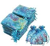 1 bolsa de organza con cordón de 9 x 12 cm con patrón de coral de organza con cordón de organza para regalo de boda