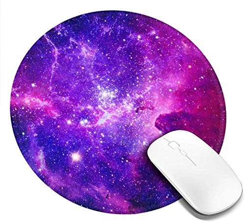 Blue Purple Galaxy Round Gaming Mouse Pad with Stitched Edge Premium-Textured Non-Slip Rubber Base Mouse Mat for Office & Home Laptop Computer Pc for Kids, Round Coaster 7.9 X 7.9 Inch