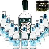 Paquete GINTONIC - Sipsmith Gin + 9 del árbol de fiebre mediterránea Agua - (70cl 20cl + 9 *) + Pot 50 rodajas de pepino deshidratado