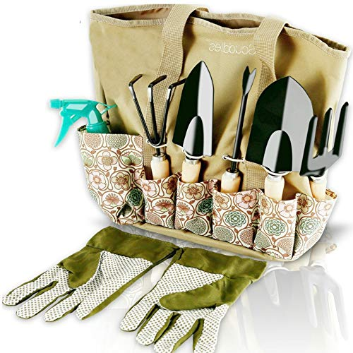 Scuddles Garden Tools Set - 8 Piece Heavy Duty Gardening Kit With Storage Organizer, Ergonomic Hand Digging Weeder Rake Shovel Trowel Sprayer Gloves Gift for Men Or Women